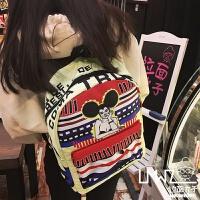 拉面丸子韩版卡通撞色印花涂鸦男女双肩包学院风书包旅行背包 浅黄底 米老鼠