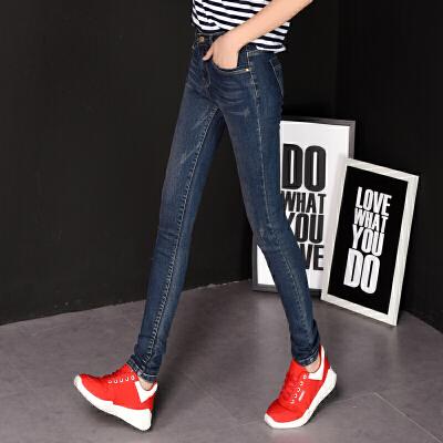 Freefeel2018春季牛仔裤女长裤女装新款中腰小脚铅笔裤显瘦高弹力修身韩版xz345