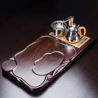 茶具套装黑檀实木茶盘陶瓷紫砂功夫茶具四合一家用大号茶台茶海 19件