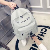 韩版双肩包女看什么看印花双背包大容量运动旅行包学生书包女