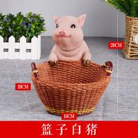 创意家居放钥匙的玄关收纳摆件门口鞋柜桌面收纳盒装饰品可爱小猪