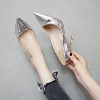 2018春秋新款百搭尖头银色高跟鞋细跟性感浅口女单鞋金色婚纱婚鞋SN4944
