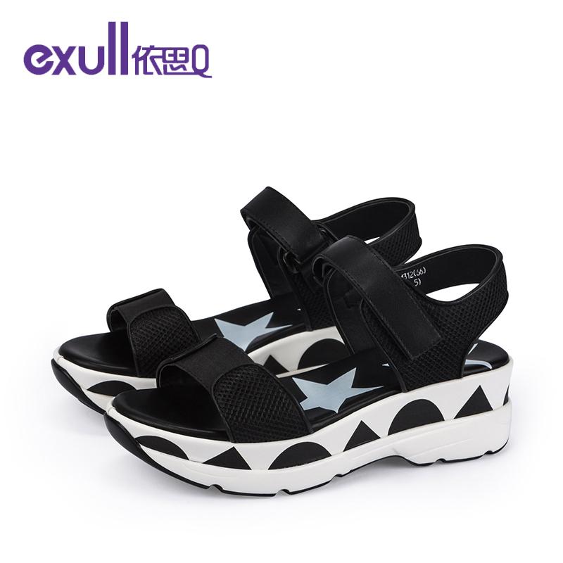 依思q夏新款凉鞋休闲运动网布贴拼色厚底女鞋