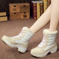 №【2019新款】冬天小朋友穿的学生百搭雪地靴女式圆头平跟棉靴中筒靴子儿童短靴