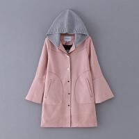 569 女装 秋冬新款百搭纯色排扣荷叶长袖连帽女式外套风衣