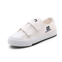 儿童帆布鞋春秋款女童布鞋儿童魔术贴小白鞋男童帆布鞋板鞋儿童鞋 白色 690