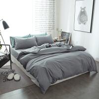 纯棉纯色磨毛四件套1.8m床上用品 床单床笠款被套三件套1.5米 浅灰色 -单色