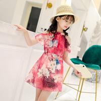 女童雪纺连衣裙子新款夏天装露肩沙滩裙衣服儿童