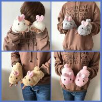 韩国可爱毛绒小兔子学生原宿卡通软妹萌冬季男女保暖加绒半指手套