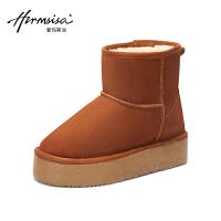 内增高雪地靴女短筒2018新款韩版厚底棉鞋百搭冬季面包鞋学生加绒SN4108