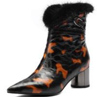 女靴秋季马丁靴女真皮女鞋2018新款短靴女冬季加绒粗跟女靴高跟鞋