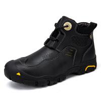 马丁靴男靴子雪地中帮工装沙漠靴男士秋季高帮男鞋真皮短靴潮