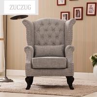 ZUCZUG欧式西皮沙发组合 酒店布艺沙发 美式田园风沙发老虎椅复古
