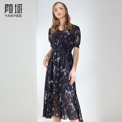 颜域2018夏装新款修身减龄碎花雪纺连衣裙女士褶皱收腰复古长裙潮