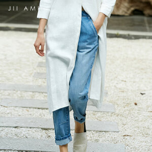 [AMII东方极简] JII东方极简独立设计师原宿宽松显瘦水洗浅蓝色高腰ins牛仔九分裤女