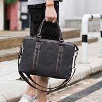 男包帆布包男士手提包韩版潮单肩斜挎背包商务公文包笔记本电脑包