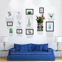 家居生活用品网格照片墙装饰相框墙上创意个性挂墙组合客厅背景墙相册框相片墙 12AT-黑白 送2支仿真花