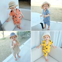 婴儿衣服男宝宝夏季纯棉套装新生儿家居两件套纯棉短袖短裤潮
