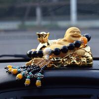 小轿车子上车载创意沙金弥勒佛佛像汽车内饰品摆件保平安装饰用品 +高档黑玛瑙珠