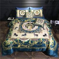 欧式印花全棉床单四件套�v升级六件套�w贡缎提花床上用品