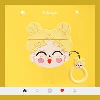 卡通ins美少女airpods保护套airpods2代无线蓝牙硅胶耳机套可爱女 黄色耳机套 美少女+同款手绳