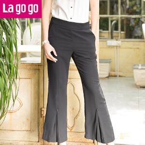 Lagogo2017夏季新款时尚黑色高腰百搭休闲喇叭裤女宽松长裤子薄