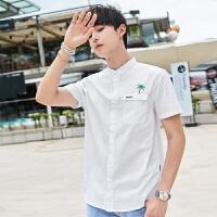 2018夏季新款短袖衬衫男生潮流韩版纯棉尖领青年刺绣衬衣