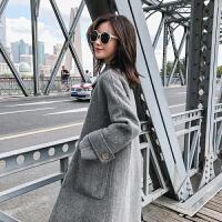 外套女中长款修身学生灰色人字纹大衣妮子