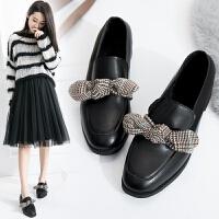 毛毛鞋女冬外穿高跟2018新款网红小皮鞋女中跟兔毛粗跟单鞋女加绒 黑色 光板