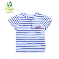 迪士尼Disney男童T恤短袖夏日萌萌海军风条纹纯棉上衣婴儿短T162S802