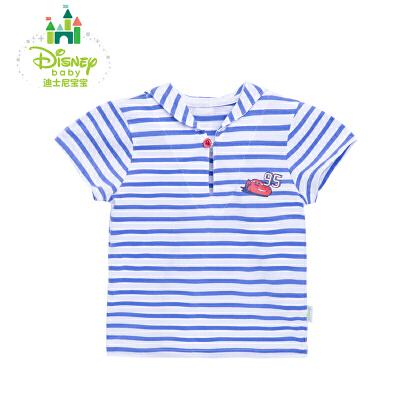 迪士尼Disney男童T恤短袖夏日萌萌海军风条纹纯棉上衣婴儿短T162S802 萌萌小海军短袖上衣