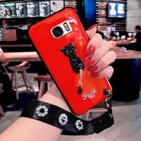 三星S7手机壳女款SM-G9300保护套新款红色光面可爱镶钻带挂绳防摔软壳g9308全包边G9300