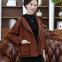 妈妈装秋装短款毛呢外套中老年女装上衣40-50岁中年妇女羊毛大衣