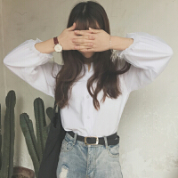 白衬衫女春夏新款时尚简约百搭雪纺灯笼泡泡袖上衣学生百搭衬衣潮