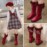 女童靴子2018冬季新款儿童二棉长筒靴女孩韩版保暖皮靴
