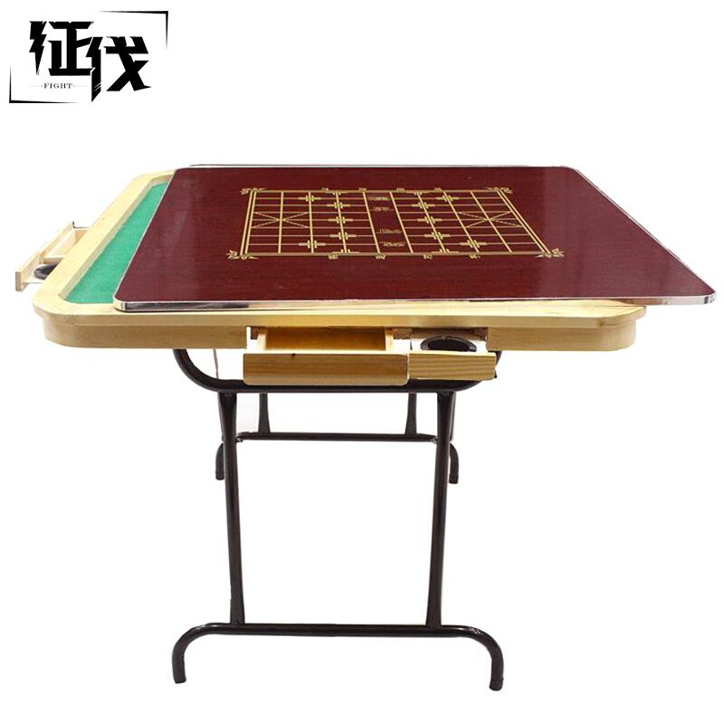 征伐 麻将桌 木质麻将台折叠简易钢管家用棋牌桌宿舍象棋桌两用餐桌 90*90*75cm简单方便,不占位置,节省空间