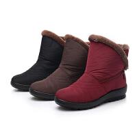 冬季保暖雪地靴女短筒真皮2018新款防水户外防滑加绒加厚妈妈棉鞋软底
