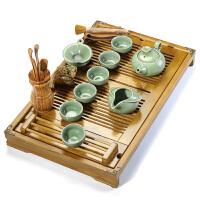 汝窑开片茶具套装整套功夫茶具茶盘实木陶瓷茶台茶海套装 套装四 哥窑茶具套装 20件