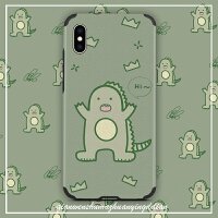 抹茶绿小恐龙苹果x手机壳全包冰丝7plus卡通创意苹果x/xr/xs max浮雕硅胶iphone8软