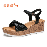 红蜻蜓凉鞋女夏季新款坡跟厚底简约舒适防水台一字带凉鞋