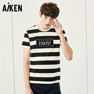 森马旗下Aiken短袖T恤男士夏天男装半袖体恤男生圆领学院风字母衣服潮