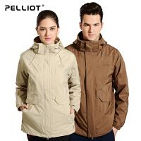 法国PELLIOT户外冲锋衣 女男三合一两件套长款加厚防水透气冲锋衣