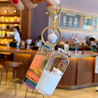 汽车冲浪猪猪钥匙扣牛奶瓶女可爱游泳情侣定制男个性创意挂件