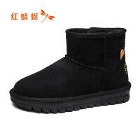 【领�涣⒓�150】红蜻蜓新款冬季雪地棉短筒雪地靴女中筒加绒加厚棉鞋女鞋