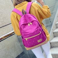 帆布双肩包女日韩学院风高中生休闲旅行背包波点印花初中学生书包