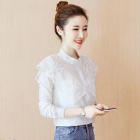 雪纺衬衫女长袖秋装女装2018新款韩版白色衬衣宽松蕾丝上衣服秋季