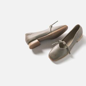 青婉田新款时尚文艺复古方头奶奶鞋女低跟真皮套脚女单鞋浅口