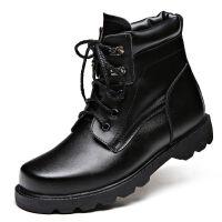 冬季男特种兵保暖棉鞋作战靴部队军勾棉靴真皮羊毛雪地靴 黑色 3513保暖