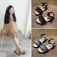 女童褶子露趾夏季公主鞋软底儿童凉鞋宝宝沙滩鞋