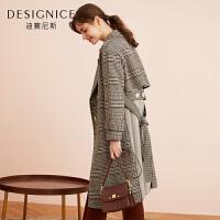 【到手参考价:539.8元】羊毛毛呢大衣女迪赛尼斯2019冬季新款时尚双排扣格子拼接呢子外套